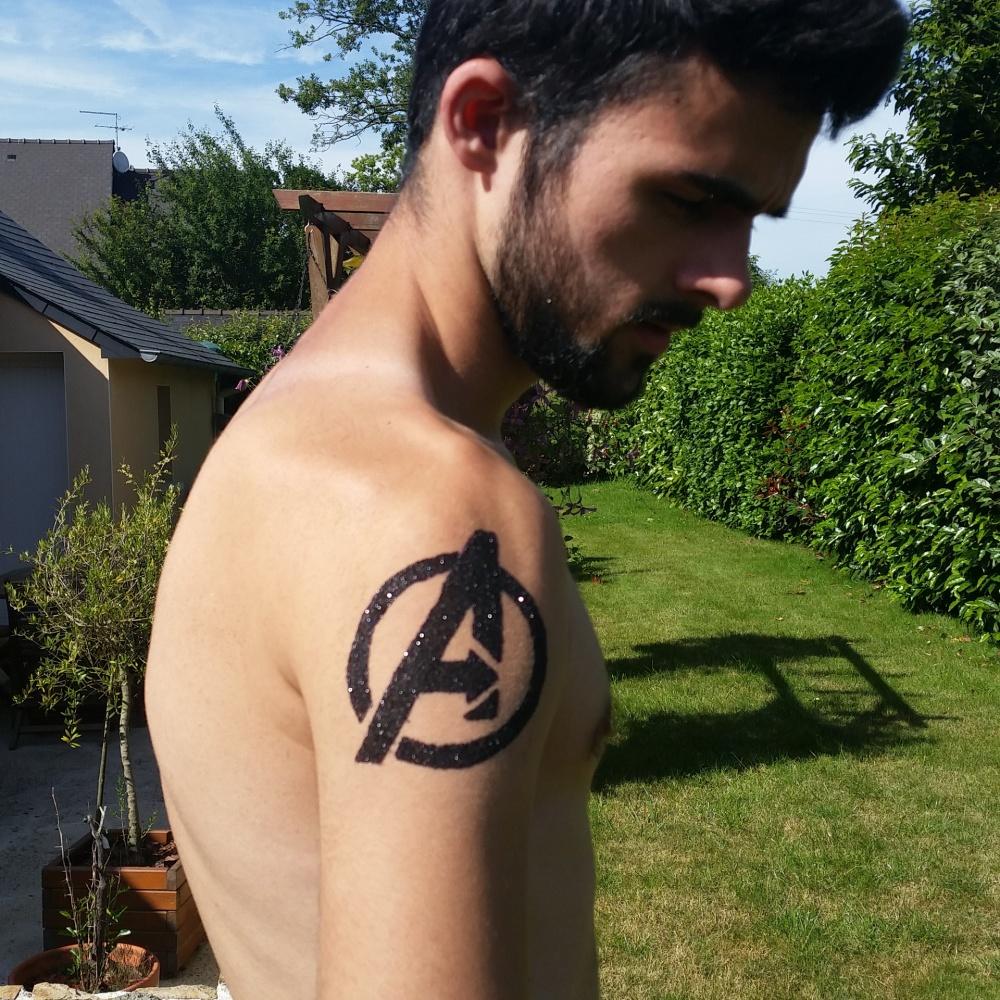 Avengers Tattoo paillettes noires (5/5)